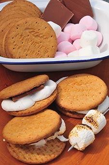s'mores chocolate marshmallow biscuits camping camp fire cooking